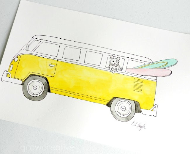 yellow VW van illustration by Elise Engh: Grow Creative Blog