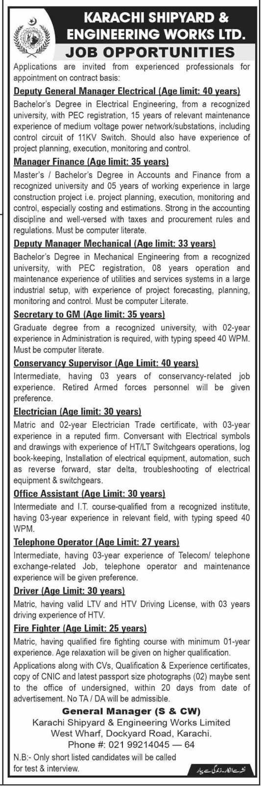 Advertisement for Karachi Shipyard and Engineering Work Jobs