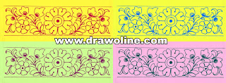 Machine embroidery flower borders design drawing with pencil on tracing paper,Sadi ka kinara drawing