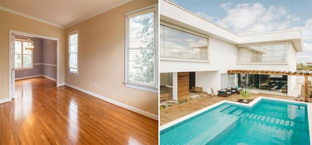 Lantai kayu outdoor dan lantai parket indoor