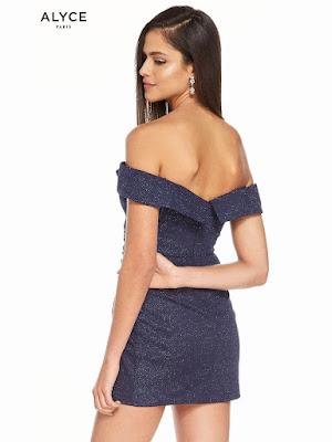 Off The Shoulder Alyce Paric Homecoming Short Dress Navy Color Back Side