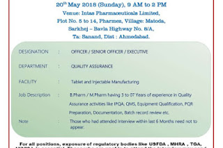Intas Pharma Walk In Interview For Quality Assurance, Officer, Senior Officer, Executive At 20 May