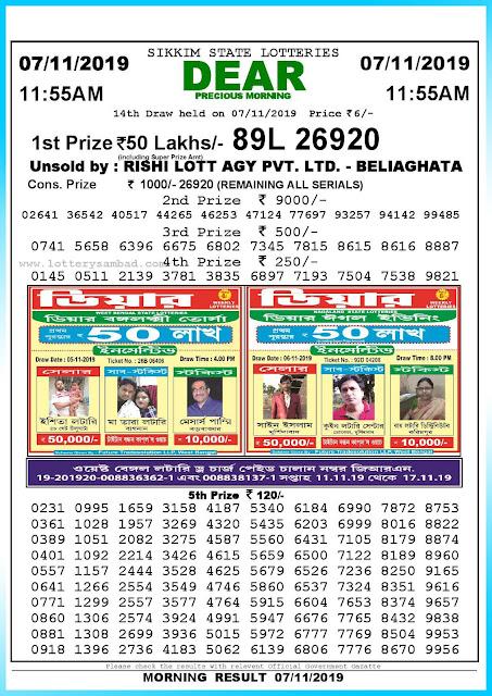 Lottery Sambad 07-11-2019 Sikkim State Lottery Result 11.55 AM-sambadlottery.org
