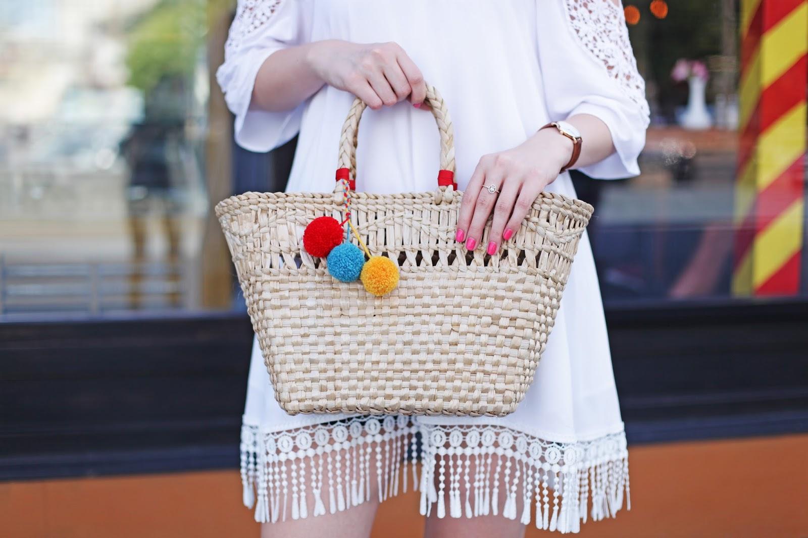 соломенная сумка, тренд 2016, помпоны