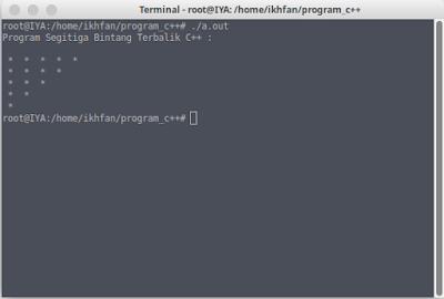 program segitiga bintang terbalik c++