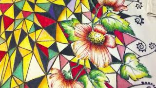 tessuto dipinto a mano con pennarelli indelebili da Fabiola Giannini