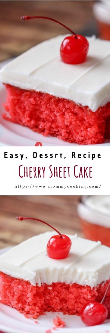 Cherry Sheet Cake #recipe #desserts