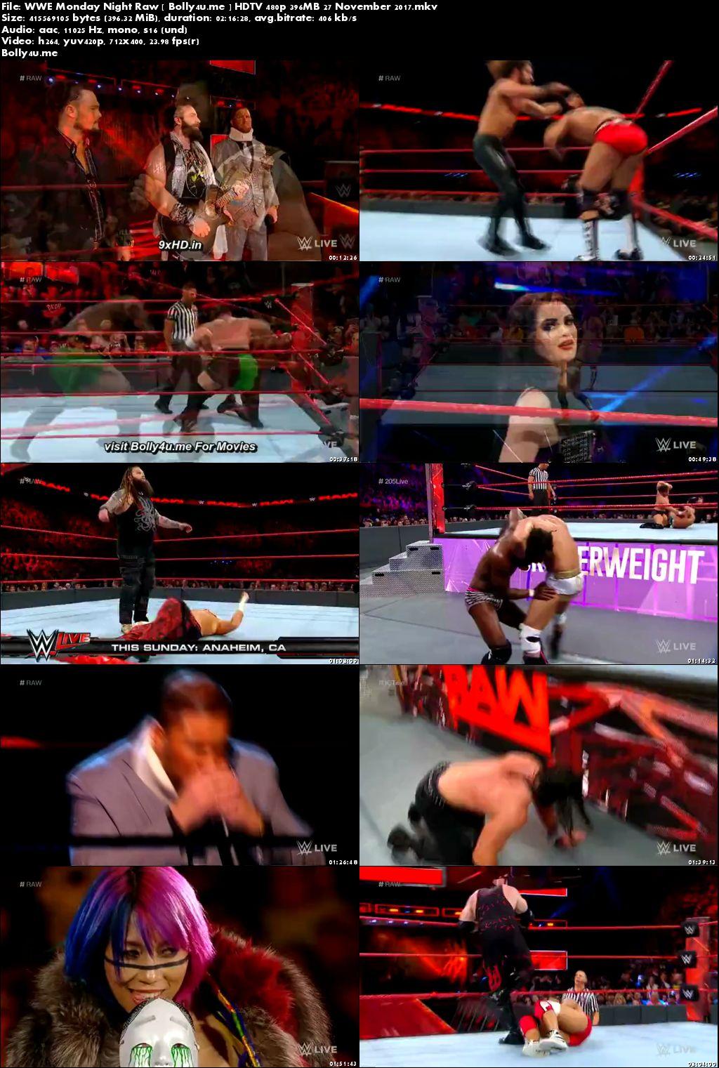 WWE Monday Night Raw HDTV 480p 400MB 27 November 2017 Download