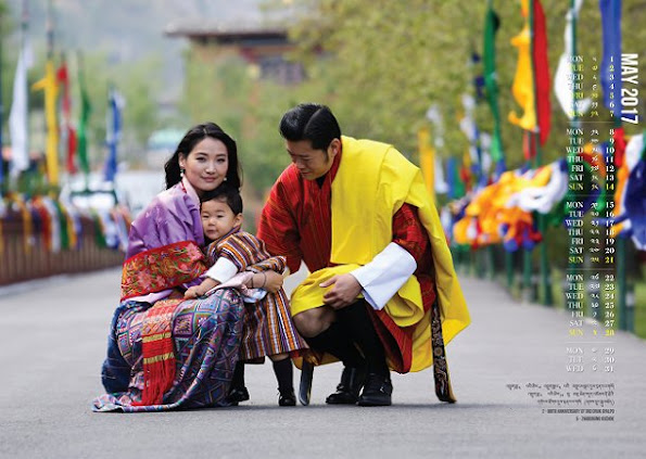King Jigme Namgyal Wangchuck of Bhutan, Queen Jetsun Pema of Bhutan and their young son The Gyalsey