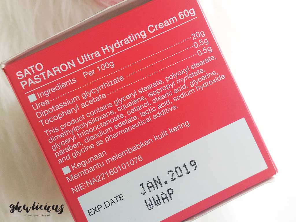 Ingredients SATO Pastaron Ultra Hydrating Cream