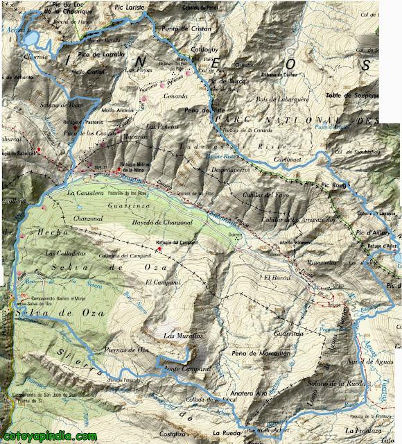 Mapa IGN de la ruta al Ibón de Acherito y Castillo de Acher desde la Selva de Oza.