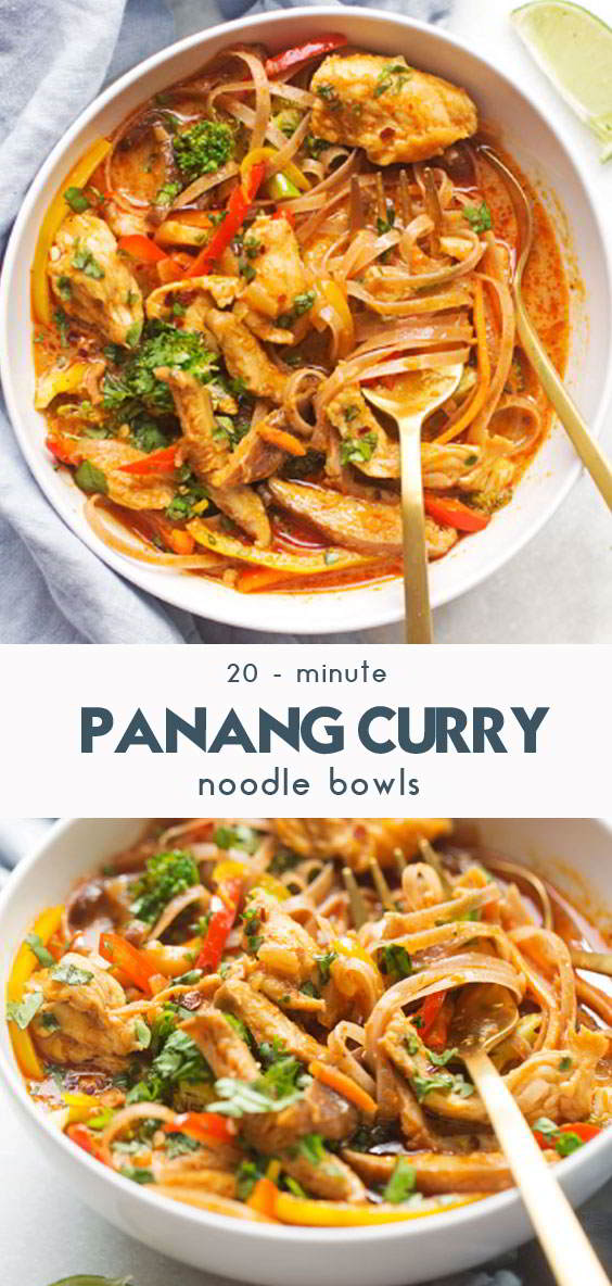 20 – Minute Chicken Panang Curry Noodle Bowls