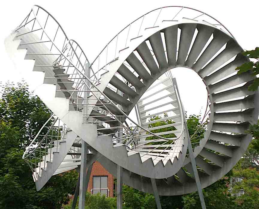 Montreal twisted stairs sculpture, a photograph
