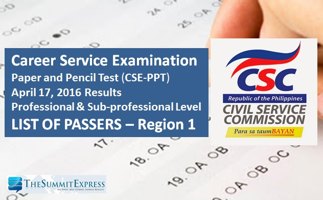 Region 1 Passers: Civil Service Exam (CSE-PPT) results April 2016