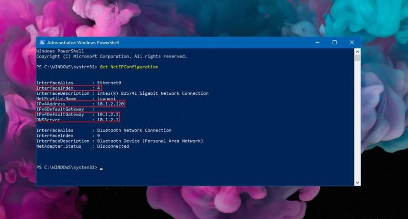 power shell ip address