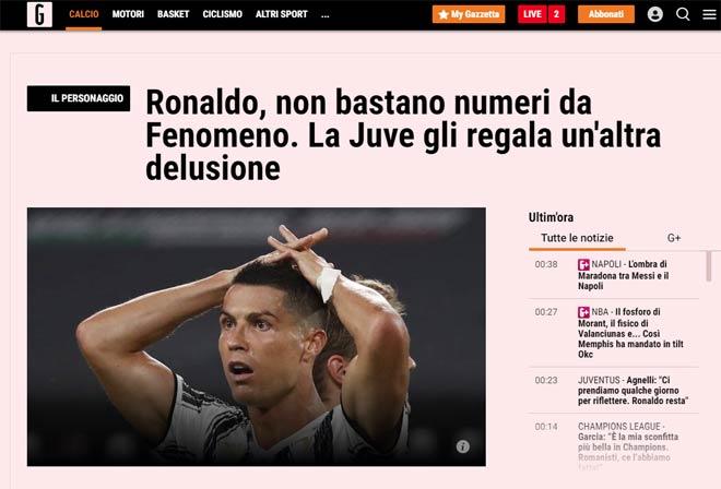 Juventus bị loại: Báo Ý khen Ronaldo là siêu nhân, đoán 2 HLV thay Sarri 2