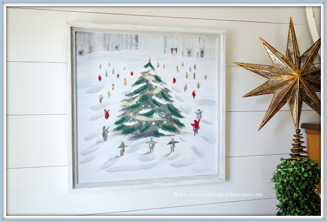 Cottage- Farmhouse -Christmas -Foyer-Winter-Scene-Artwork-French-Country-From My Front Porch To Yours