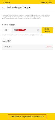 verifikasi nomor hp pada aplikasi kakaopage