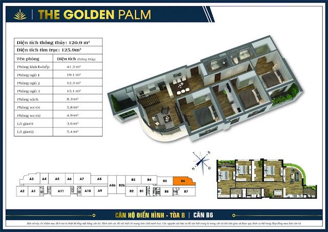Mặt bằng căn B6 tòa B chung cư The Golden Palm