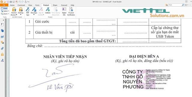 Hình 6 - Ký điện tử thành công bằng chữ ký số Viettel-CA
