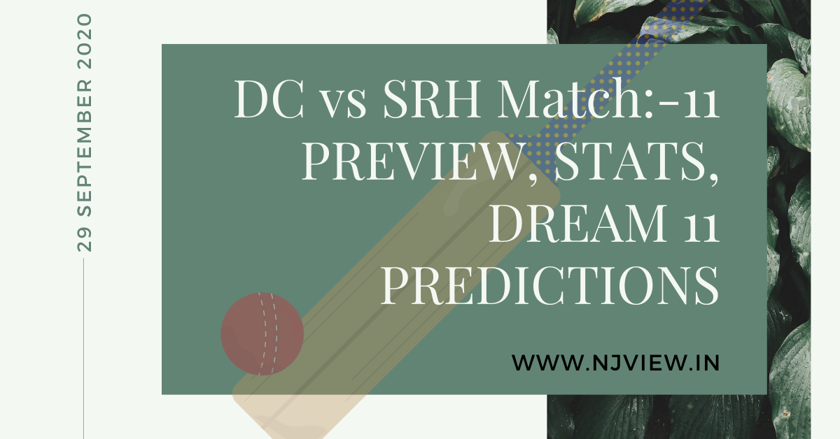 DC VS SRH MATCH NO: 11 PREVIEW, STATS AND DREAM 11 PREDICTIONS