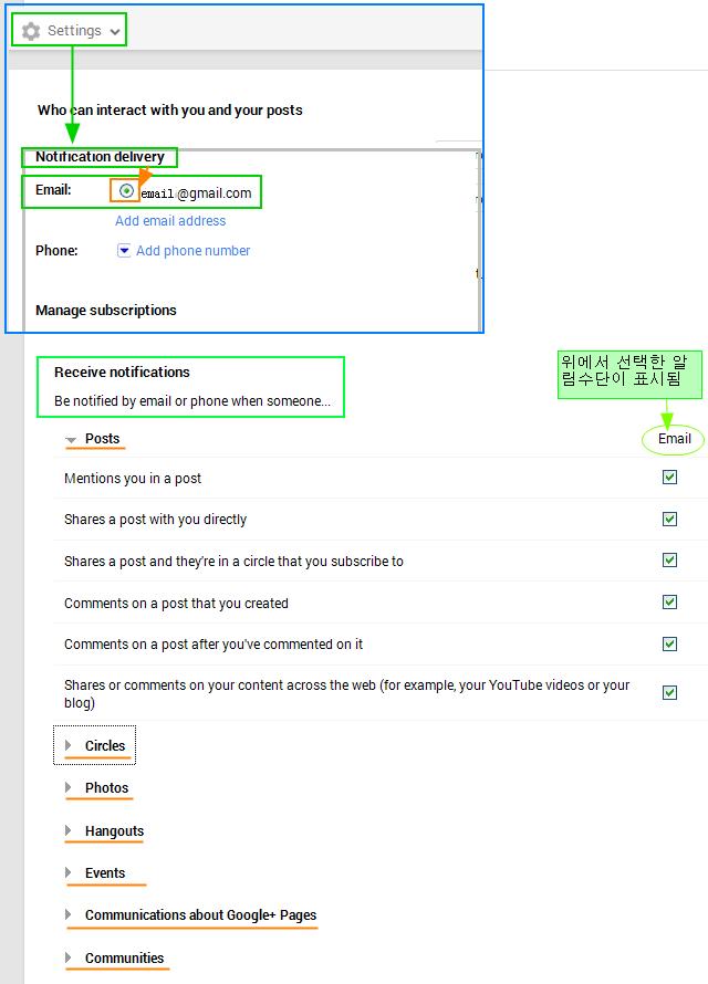 구글플러스 사용법: 이메일 알림설정과 이메일 발신자 표시