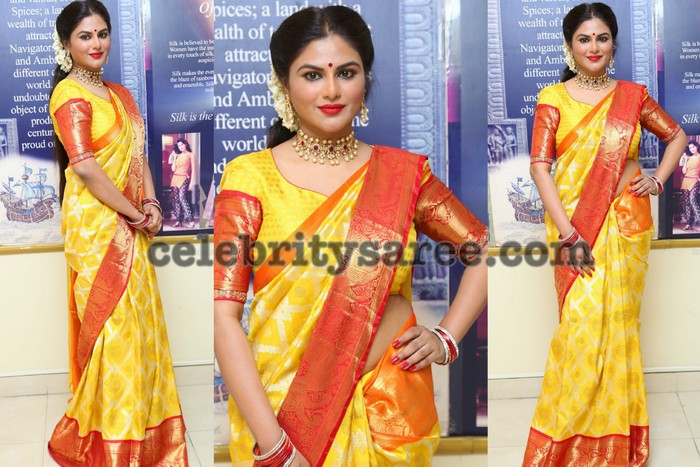 c24df5b859 Shailaja Reddy Yellow Silk Saree - Saree Blouse Patterns