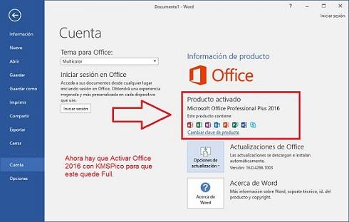 microsoft office 2016 spanish