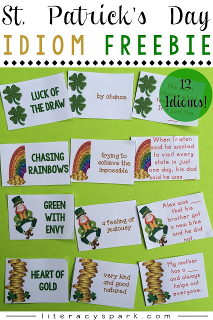 Free idioms activity for St. Patrick's Day.  Includes 12 different idioms about gold, rainbows, green, and luck.  Matching activity with idioms, sentences, and definitions.