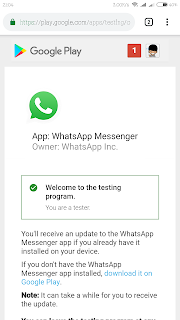 Whastapp version 2.18.301 beta has release for android