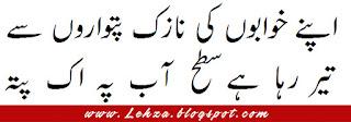 Apny Khawabo Ki Naazik Patwaroo Sy Tayr Raha Hai Satah-e-Aab Pa Aik Patta