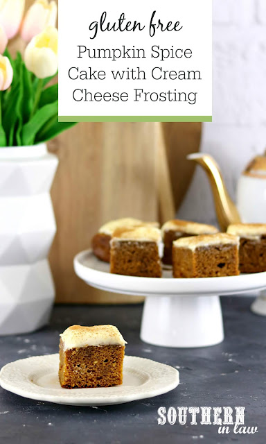 Gluten Free Pumpkin Spice Cake with Cream Cheese Frosting - gluten free, easy to make, pumpkin spiced cake, sheet cake, icing