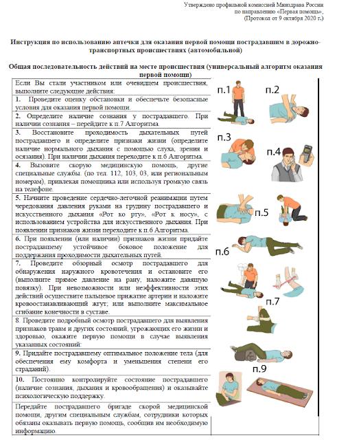 Инструкция из автомобильной аптечки по приказу №1080н