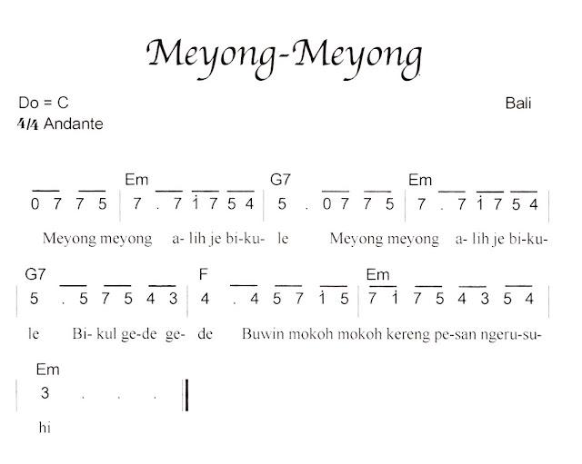 Not Angka Pianika Lagu Meyong Meyong (Bali)