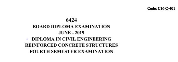 Sbtet Reinforced Concrete Structures Previous question papers c16 civil june 2019