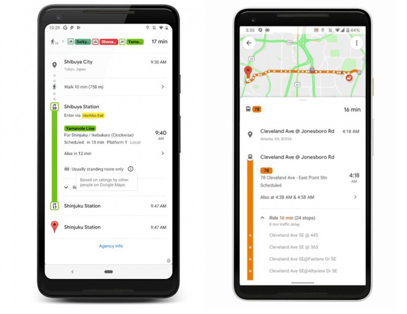 Google Maps adds new public transit features