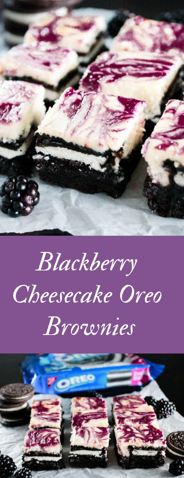 Blackberry Cheesecake OREO Brownies #dessert #cake