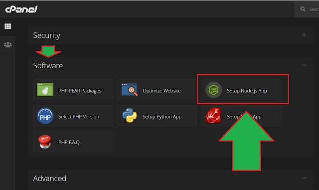 ciri ciri cPanel support nodejs