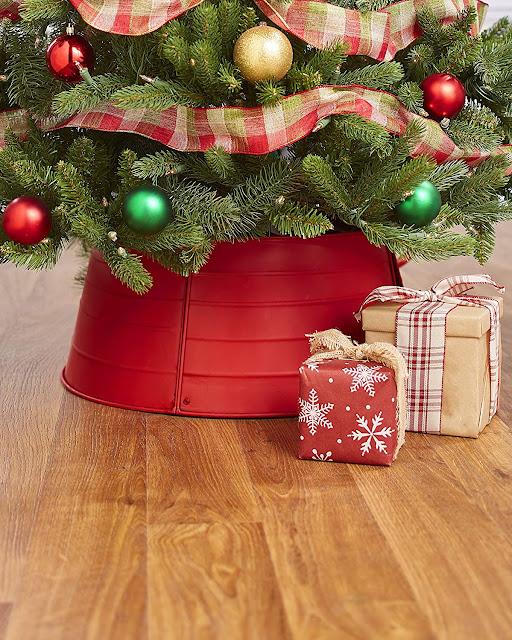 red galvanized Christmas tree collar