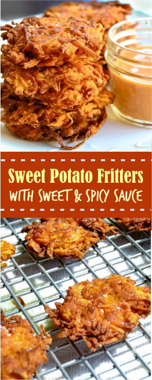 SWEET POTATO FRITTERS WITH SWEET & SPICY SAUCE