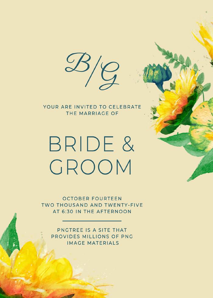 Fashion Exquisite Sunflower Wedding Invitation
