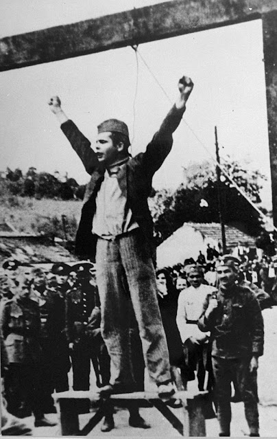Stjepan Filipović about to be hanged, 22 May 1942 worldwartwo.filminspector.com