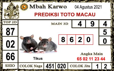 Prediksi jitu Mbah Karwo Macau Rabu 04 Agustus 2021