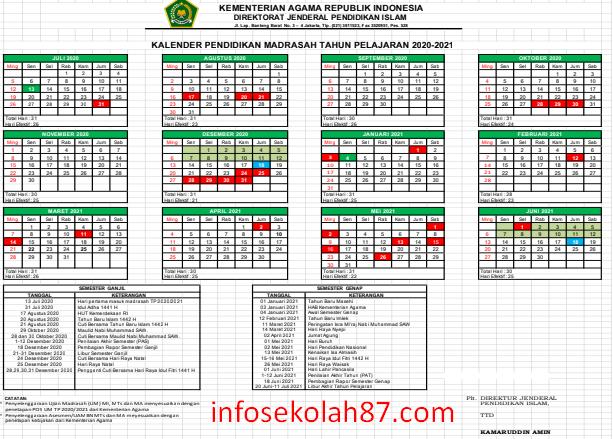 Download Kalender Pendidikan RA/Madrasah 2020/2021 Dirjen Pendis