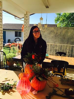 DIY Pumpkin vases for flowers