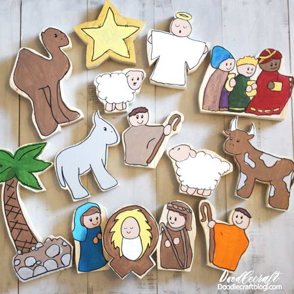 Wood Nativity Set