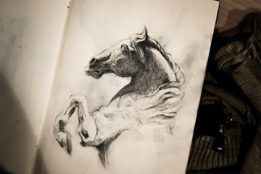 12-Rearing-Horse-Mike-Koubou-Stylized-Sketchbook-Animal-Pencil-Drawings-www-designstack-co