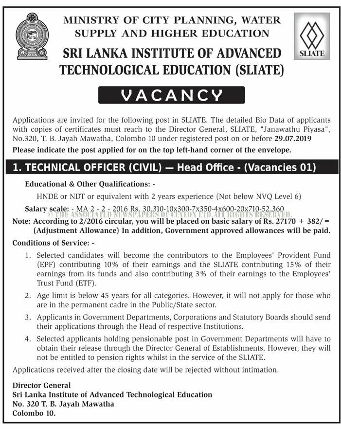 Vacancies at Sri Lanka Institute of Advanced Technological