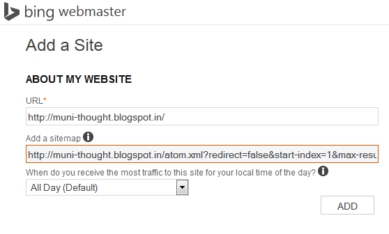 Add Your Blogger Sitemap in Bing Webmaster Tool