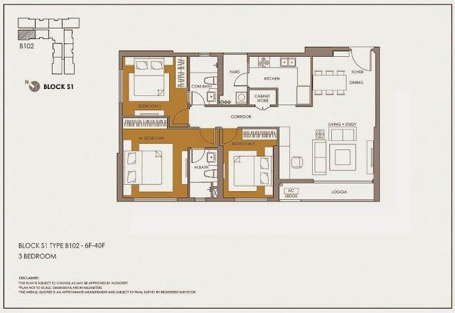 Căn thiết kế 3 phòng ngủ (diện tích thông thủy) : 99.48m2